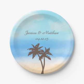 The Watercolor Beach Wedding Collection 7 Inch Paper Plate