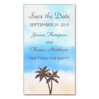 The Watercolor Beach Wedding Collection Magnetic Business Cards