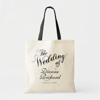 the wedding of... (custom names) black tote bag