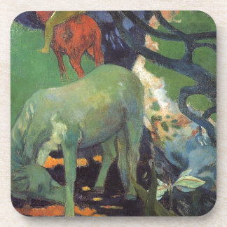 The White Horse by Paul Gauguin Beverage Coasters