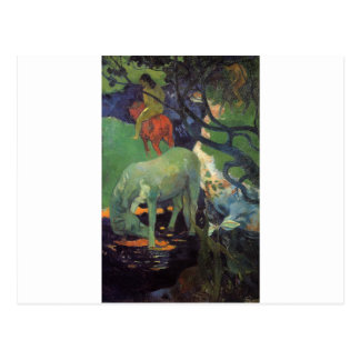 The White Horse by Paul Gauguin Postcard