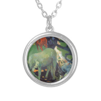 The White Horse by Paul Gauguin Round Pendant Necklace