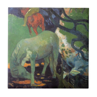The White Horse by Paul Gauguin Small Square Tile