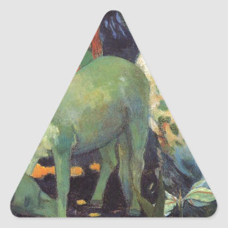 The White Horse by Paul Gauguin Triangle Sticker