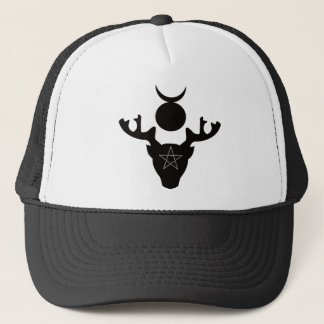 The Wiccan Horned God Cernunnos, black silhouette Trucker Hat