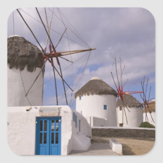 The windmills of Mykonos on the Greek Islands Square Sticker