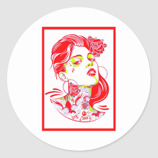 THE WOMAN FLOATING ROUND STICKER