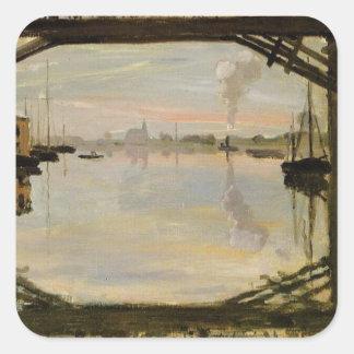 The Wooden Bridge by Claude Monet Square Sticker