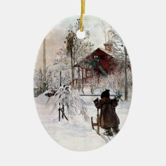 The Yard and Wash-House, Carl Larsson Christmas Ornament