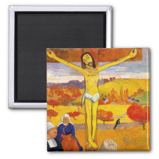 The Yellow Christ by Paul Gauguin Square Magnet