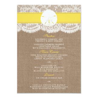 The Yellow Sand Dollar Wedding Collection Menu Card