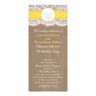 The Yellow Sand Dollar Wedding Collection Programs Personalised Rack Card