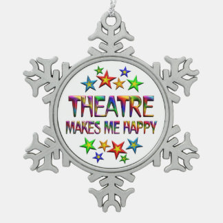 Theatre Happy Snowflake Pewter Christmas Ornament