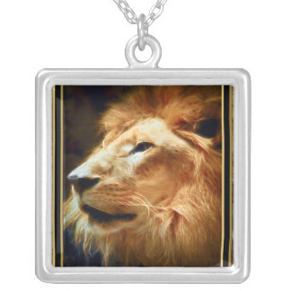 Thee Majestic Lion Silver Plated Necklace