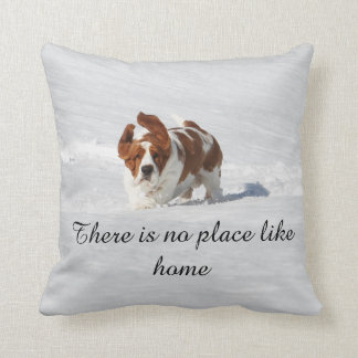 """There is no place like home"" pillow w/Basset"