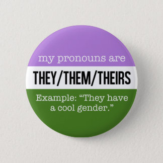 They/Them Pronouns – Genderqueer Flag 6 Cm Round Badge
