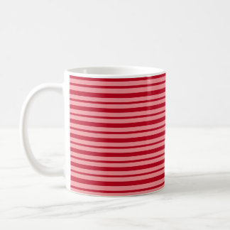 Thick and Thin Burgundy and Salmon Stripes Coffee Mug