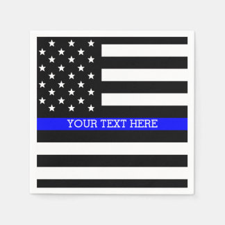 Thin Blue Line - American Flag Personalized Custom Disposable Serviette