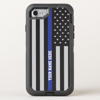 Thin Blue Line - American Flag Personalized Custom OtterBox Defender iPhone 7 Case
