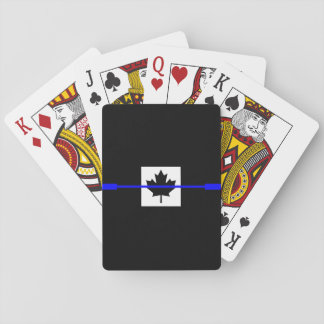 Thin Blue Line on Canadian Flag Decor Playing Cards