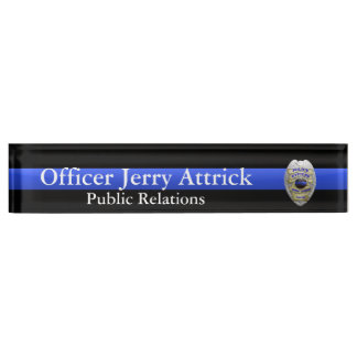Thin Blue Line - Super Hi Res Police Officer Badge Name Plate