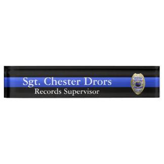 Thin Blue Line - Super Hi Res Police Supvr Badge Nameplate