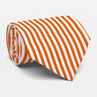 Thin Orange White Vertical Stripes Tie