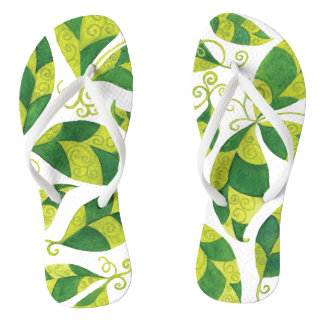 Thin Strap Flip Flops with Abstract Green Leaves Thongs
