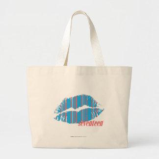Thin Stripes Aqua Large Tote Bag