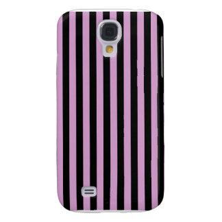Thin Stripes - Black and Light Medium Orchid Galaxy S4 Case