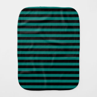 Thin Stripes - Black and Pine Green Burp Cloths