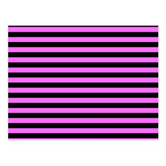 Thin Stripes - Black and Ultra Pink Postcard