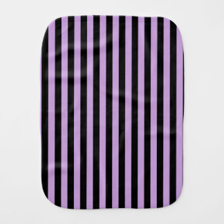 Thin Stripes - Black and Wisteria Baby Burp Cloths