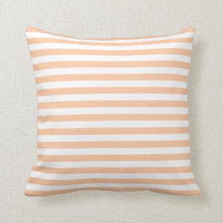 Thin Stripes - White and Deep Peach Cushion