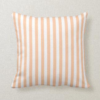 Thin Stripes - White and Deep Peach Throw Pillow