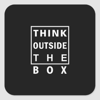 think outside the box smart text quote clever mess square sticker