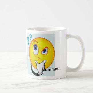 Thinking Emoticon Mug reads Hummm...