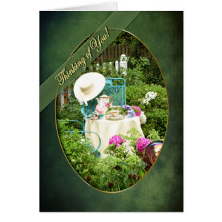 THINKING OF YOU - ENGLISH COTTAGE GARDEN - UPRIGHT GREETING CARD