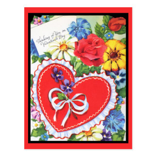 Thinking of You Vintage Valentine Postcard