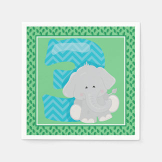Third Birthday | Safari | Baby Elephant Paper Napkin