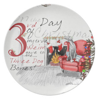 THIRD DAY OF CHRISTMAS WEIMS MELAMINE PLATE