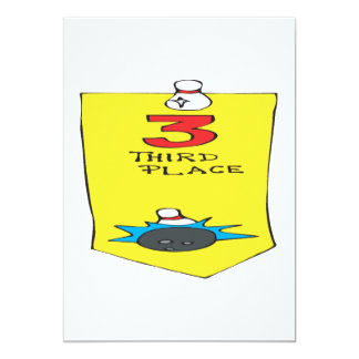 Third Place Bowling Ribbon 5x7 Paper Invitation Card