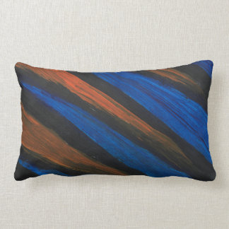 This is a Lumbar Pillow, Black, Blue and Orange. Lumbar Cushion