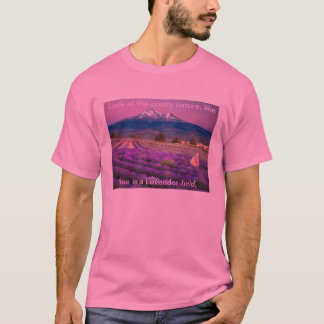 This is a pretty view about a Lavender field. T-Shirt