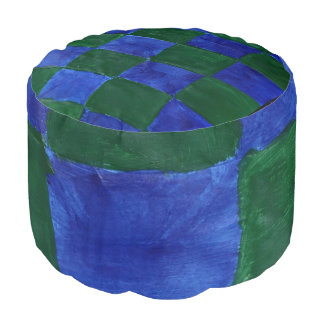 This is a Round Pouf that is checker blue & green.