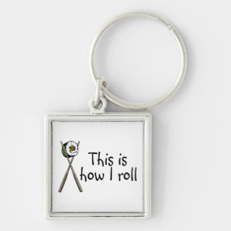 This Is How I Roll Sushi Silver-Colored Square Key Ring
