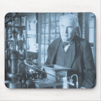 Thomas Edison in His Lab Stereoview Cyan Toned Mouse Pad