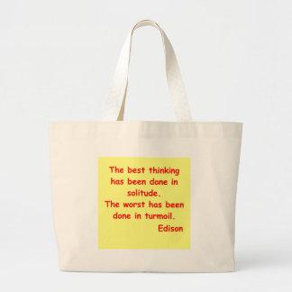 Thomas Edison quote Large Tote Bag