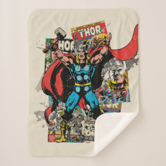 Thor Retro Comic Collage Sherpa Blanket