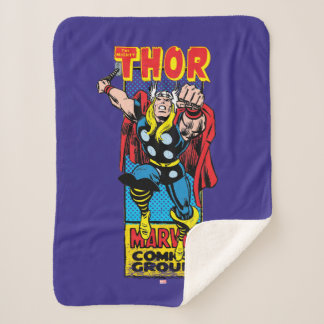 Thor Retro Comic Graphic Sherpa Blanket